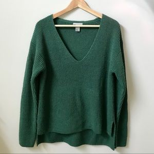 H&M Green V Neck Sweater - Size S